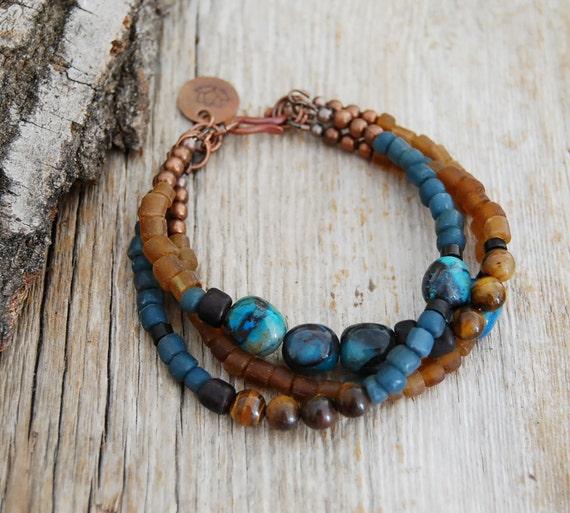 lotus bracelet - yoga jewelry- chrysocolla, tiger's eye