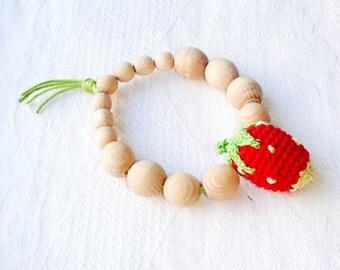 Baby teething ring,Strawberry baby teether,Red green,Natural wood,Waldorf toy,Beaded teething ring,Wooden baby toy,Berry for baby