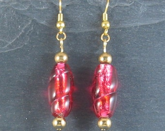 Fashion Jewellery - Gold with Red earrings
