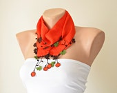 Christmas Red Silk Foulard, Handmade Red Flowers, Brown-Green Leaves (Oya), Beadwork, Cyber Monday