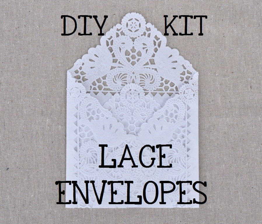 Wedding Invitation Diy Kits: DIY Lace Envelope Kit. Wedding Invitation By BashoreDesigns