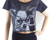Dog Glasses shirt women shirt crop top crop shirt bleach shirt size M