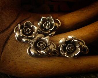 25mm THAI Karen Sterling Silver Floral Flower Rose S - Clasp Toggle Focal -- destash