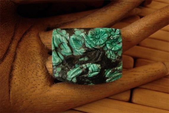 CARVED NATURAL Dragonskin Turquoise Floral Focal Bead Pendant -- destash
