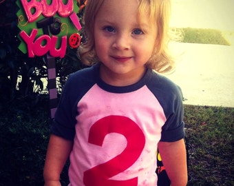 Pink grey girls birthday outfit girls 2nd birthday shirt Pink and Asphalt Raglan with Fuchsia Number Birthday Shirt two year old pink shirt