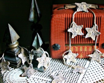 Rustic Hand Crocheted Ecru Star Garland--Wedding, Holiday or Anytime Home Decor
