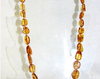 Baltic amber adult necklace cognac color leaves beads (~60 cm) 9