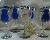 Wedding Glasses, Bridesmaides Gift, Personalized Wedding Wine Glasses, Bridal Party Wedding Favors, Wedding Gifts