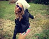 Fuzzy White Rainbow Speckled Raver Kitty Hat