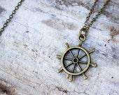 Nautical Necklace: Ship Wheel, Sailor Necklace, Chain Necklace, Metal Pendant, Rudder, Gift Under 20