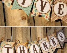 Thanksgiving Give Thanks Banner - Printable Thanksgiving Banner, DIY Thanksgiving Decor