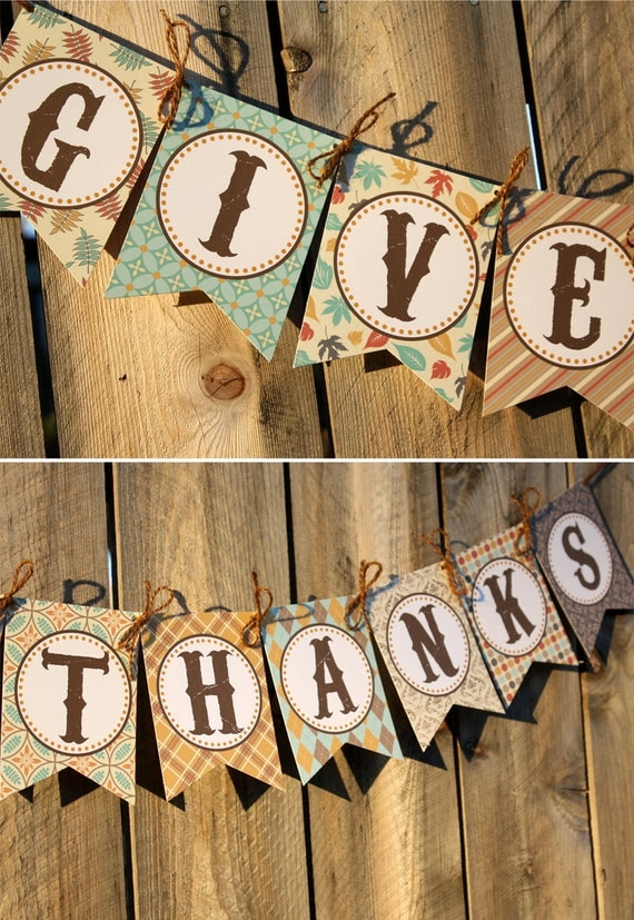 Give Thanks Banner Printable Thanksgiving By Thelovelyapple