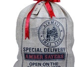 Personalized Christmas sack, Christmas stocking screen printed by hand