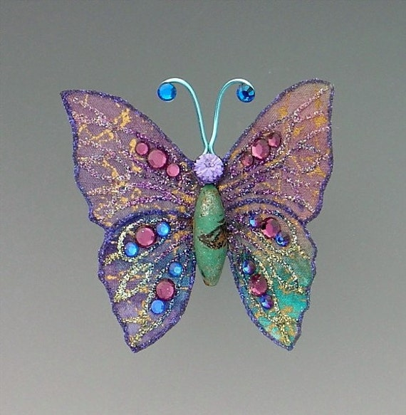 Turquoise and Purple Butterfly Brooch