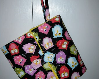 flip and go travel diaper changing pad - owls on black
