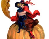 Flour Sack Dish Towel Sweet Halloween Witch