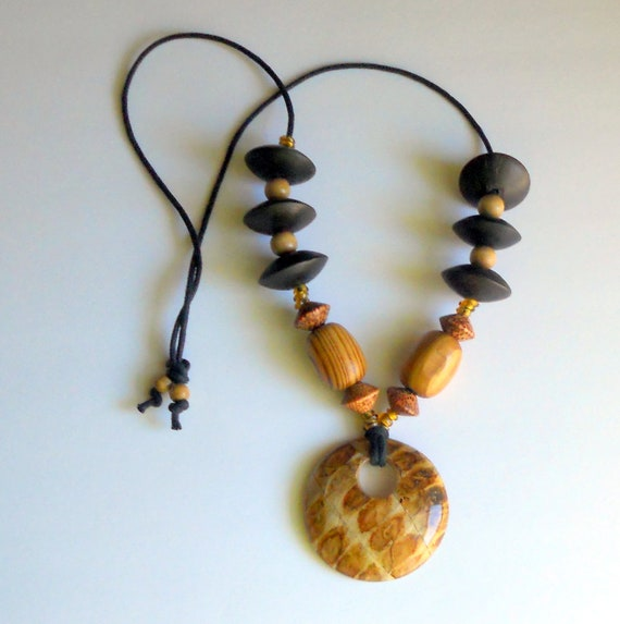 Tribal Wood Cord Necklace - Chunky Brown - Trade Beads - Natural Coconut - African Earth Tones Statement Pendant - Autumn Fashion Jewelry