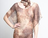 Womens Tunic -  Silk Tunic Damask Summer Top Brown Beach One Size - Donations to RED CROSS