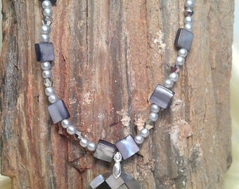 Multi Colored Mother of Pearl Pendant Necklace of Greys/Beiges Neutral Colors