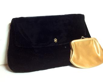 Vintage Coblentz Original Black Velvet Pouch Bag Clutch Handbag w Change Purse