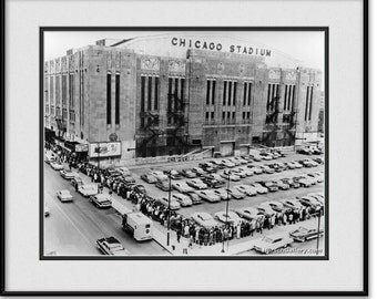 Vintage Chicago Stadium Photograph - Chicago Blackhawks Black and White  Art Print, Picture, Photo, Wall Art