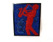 Custom Framed Jazz Man Mardi Gras Bead Mosaic from New Orleans 16 x 20 - Blue and Red Saxophone