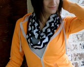 Black and White Chevron Infinity Knit Scarf from GreenStyle
