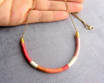Triball thread necklace.  pink and white thread long gold necklace, fashion ethnic jewelry.