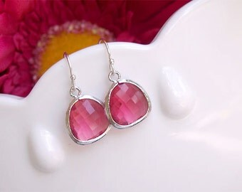 Ruby Drop Earrings in Silver - July Birthstone Birthday Fuschia Drop Earrings on Sterling Silver - Bridesmaids Earrings, Magenta,Ruby,Pink