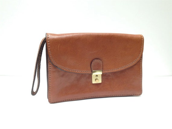 Marforio Venice Italian leather, unisex clutch in red - brown