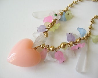 Vintage plastic heart and flower necklace