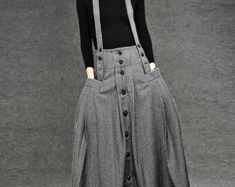 Plaid skirt, wool skirt, maxi skirt, winter skirt, Strap skirt, womens skirts,  Vintage skirt, long wool skirt, wool skirt pleats C048