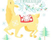 Happy Holidays Card with Christmas Reindeer Flying above a Winter Wonderland