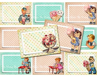 INSTANT DOWNLOAD, Digital Collage Sheet Vintage Birthday Party, Printable Name Tags, Place Cards, Gift Tags, Retro Ice Cream Theme, atc aceo