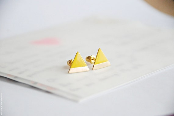 Yellow Dipped Triangle Earring Studs