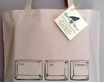Computer Laptop Geek Tote Bag Ctl Alt Delete Cotton Canvas Tote Bag Bookbag
