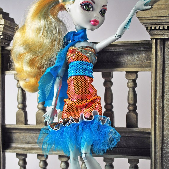 Monster High handmade doll clothes stretchy bright sea blue and soft coral dress with belt and scarf