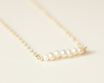 Tiny freshwater pearl bar necklace- delicate14k gold filled chain- modern minimalist jewelry for everyday by noa noa