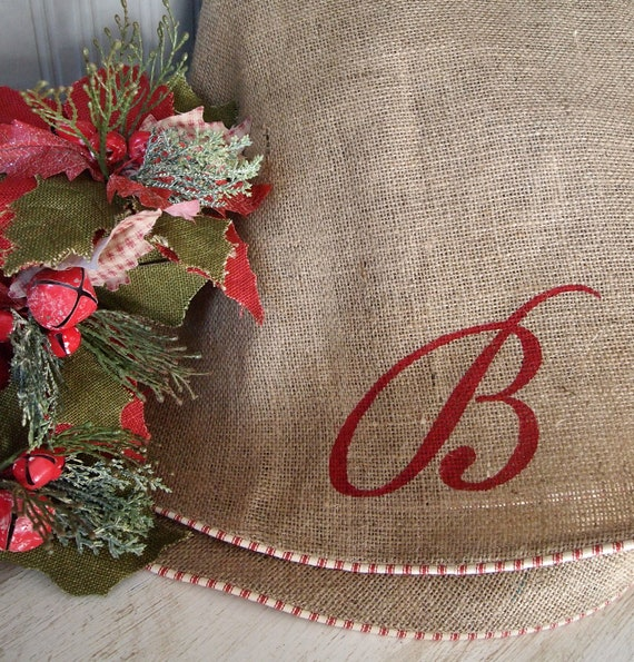 60 Natural Burlap Christmas Tree Skirt Red by TheBurlapCottage