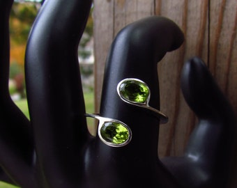 Adjustable Peridot Sterling Silver Ring