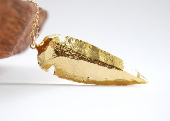 Ali'i necklace - Gold arrowhead pendant necklace, gold dipped arrowhead necklace, gold filled spear necklace, layering necklace, maui,hawaii