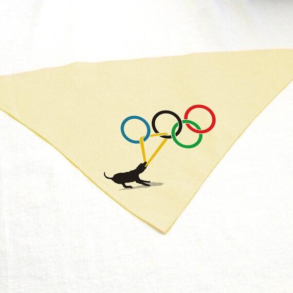 Dog Olympics Pet Bandana featuring Dog Tugging on Olympic Ring