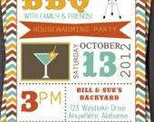 BBQ Party Invitation/Invite.  Birthday, Baby Shower, Fall Party  Picnic, Housewarming, Good Bye Party, Family Reunion