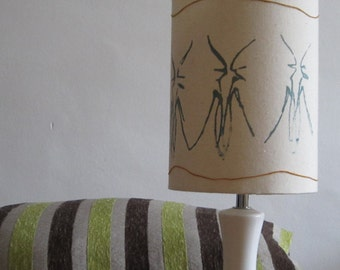 Grey Blue Hand Printed Design On Cream Calico Small Lampshade With Mustard Jute String Feature - Suits UK and European Light Fittings -