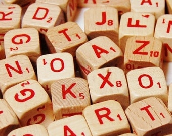 73 Scrabble RSVP Red Letter Dice - Wooden Dice - Vintage Game Pieces - 1970 - Crisp and Clean