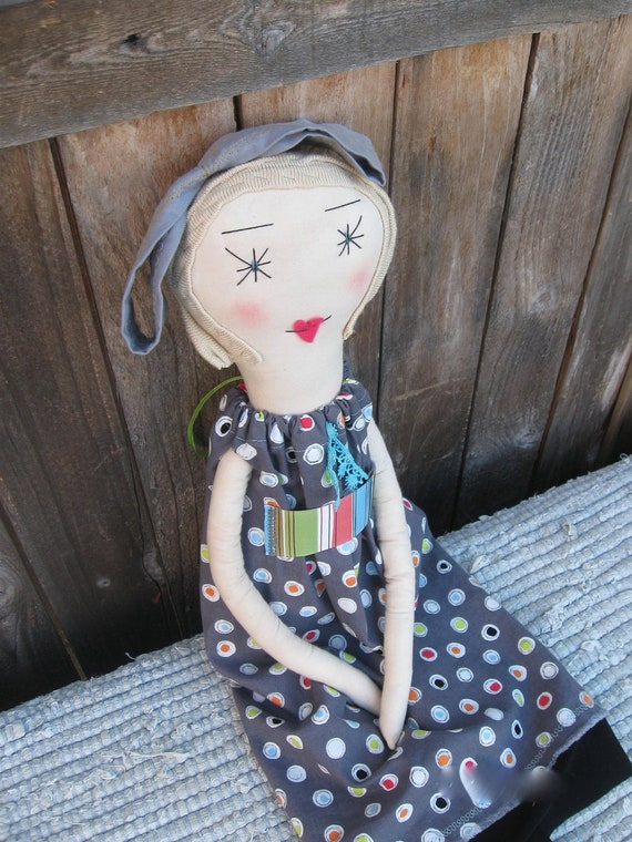 Beatrix: Handmade Rag Doll - Soft Cloth Doll - Heirloom Quality 22 Inch - Recycled and Vintage Textiles