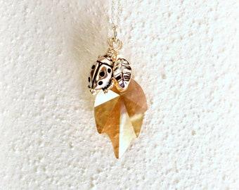 SALE Golden Leaf with Ladybug - Swarovski Crystal Necklace - Golden Shadow Leaf Pendant - Ladybug Charm in Silver