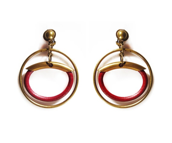 Deep red leather , brass hoop earrings.