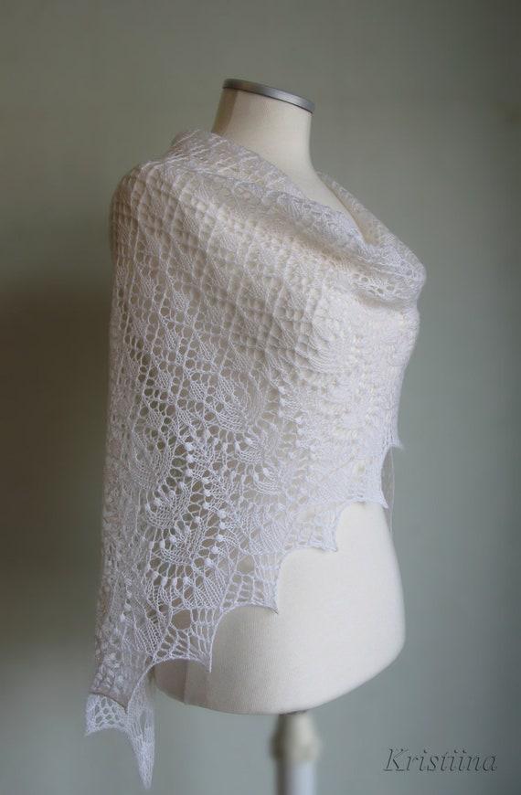 White wedding triangular lace shawl