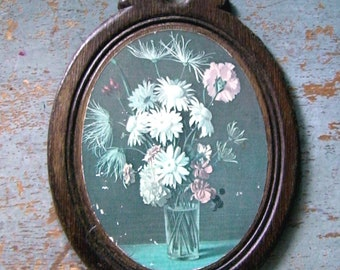 Vintage Picture, Wall Decor, Flowers in Vase, Wood, Oval, Floral, Wall Art, Cottage Decor, Shabby, Plaque